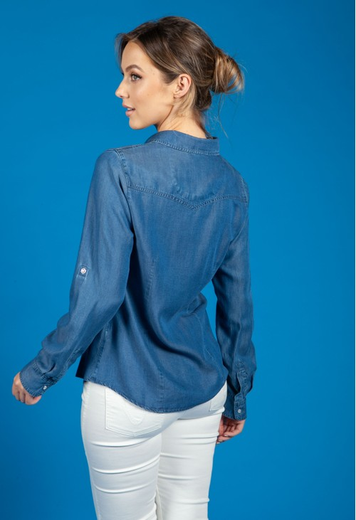 Twist Deep Blue Tencel Shirt