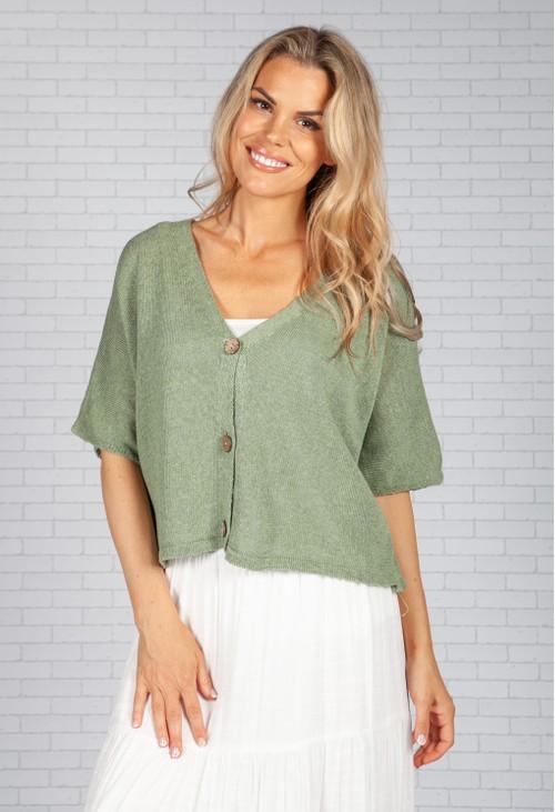 Pamela Scott Sage Cropped Knit Cardigan