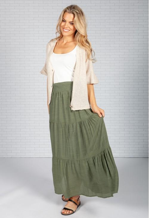 Pamela Scott Khaki Boho Style Skirt