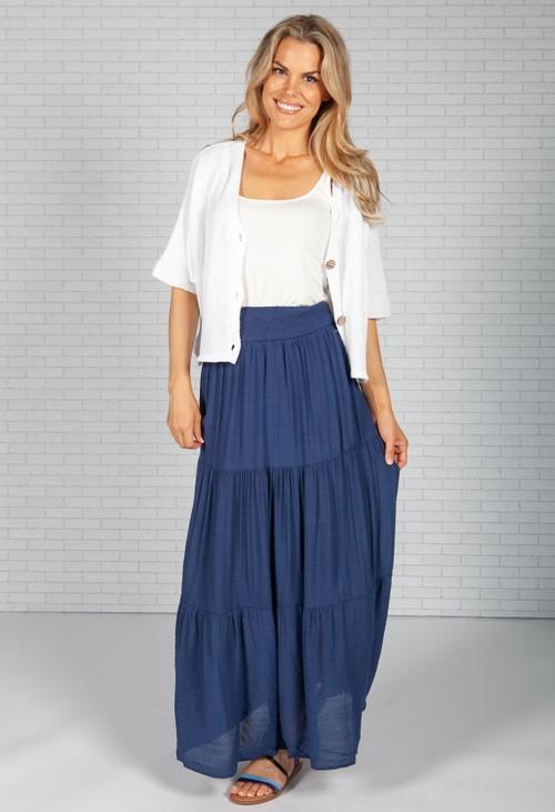 Pamela Scott Navy Boho Style Skirt