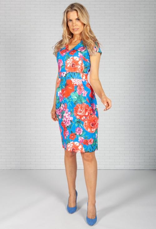Zapara Bright Blue Rose Print Dress