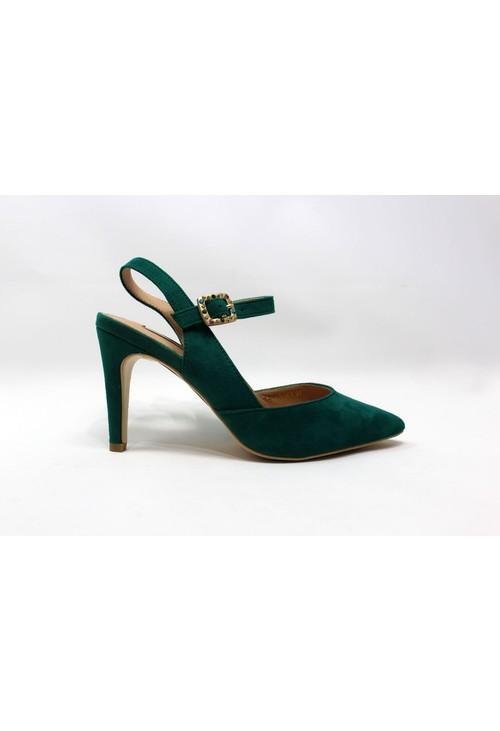 Shoe Lounge Emerald Green Heel with Diamante Encrusted Buckle