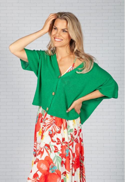 Pamela Scott Emerald Green Cropped Knit Cardigan