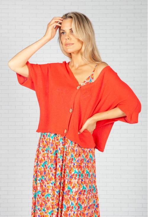 Pamela Scott Red Cropped Knit Cardigan