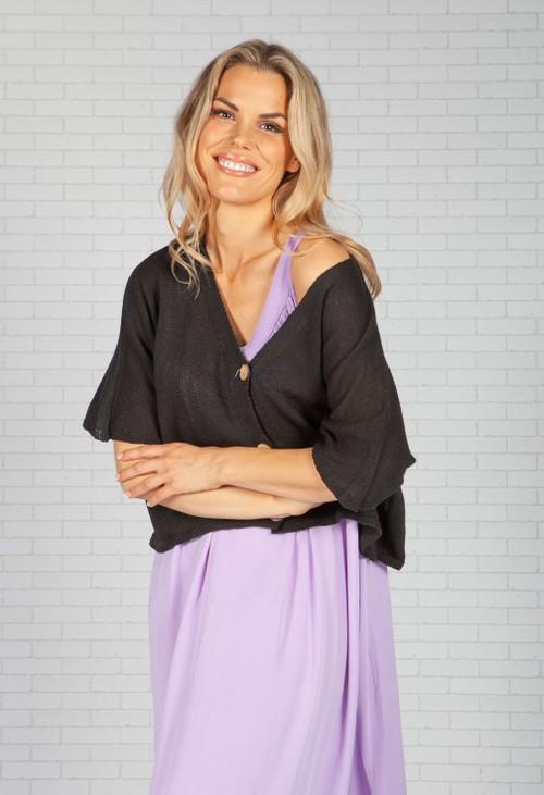 Pamela Scott Black Cropped Knit Cardigan