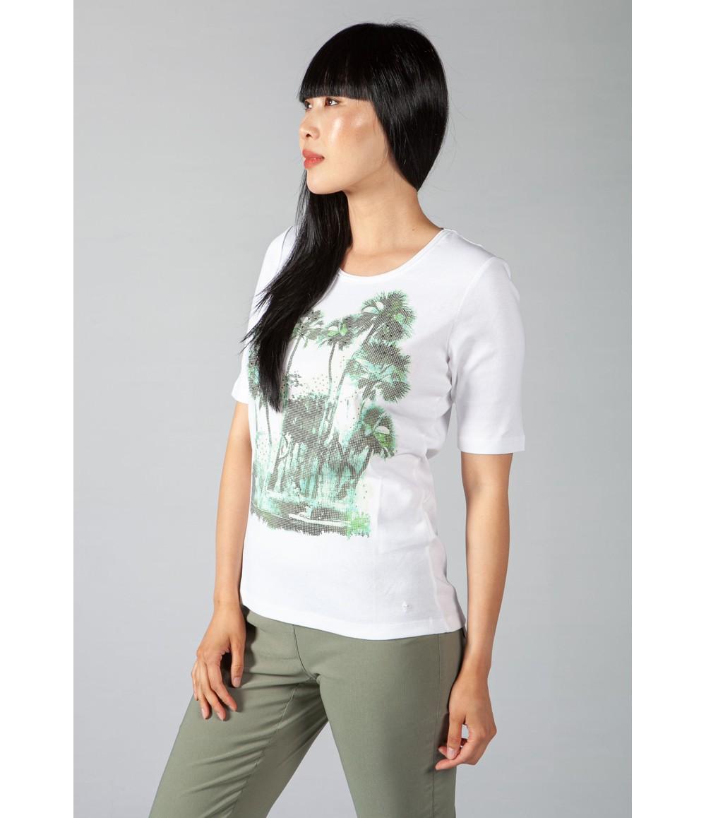 Olsen Palm Printed White T-Shirt