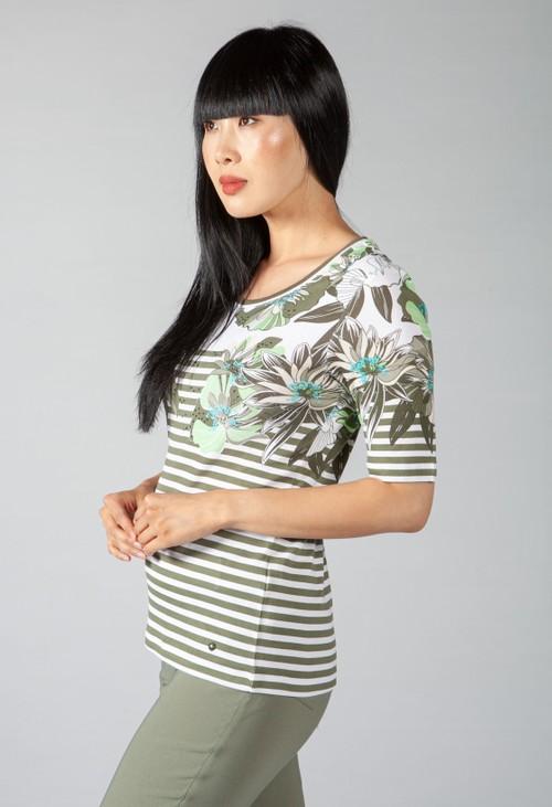 Olsen Khaki Stripe and Floral Top