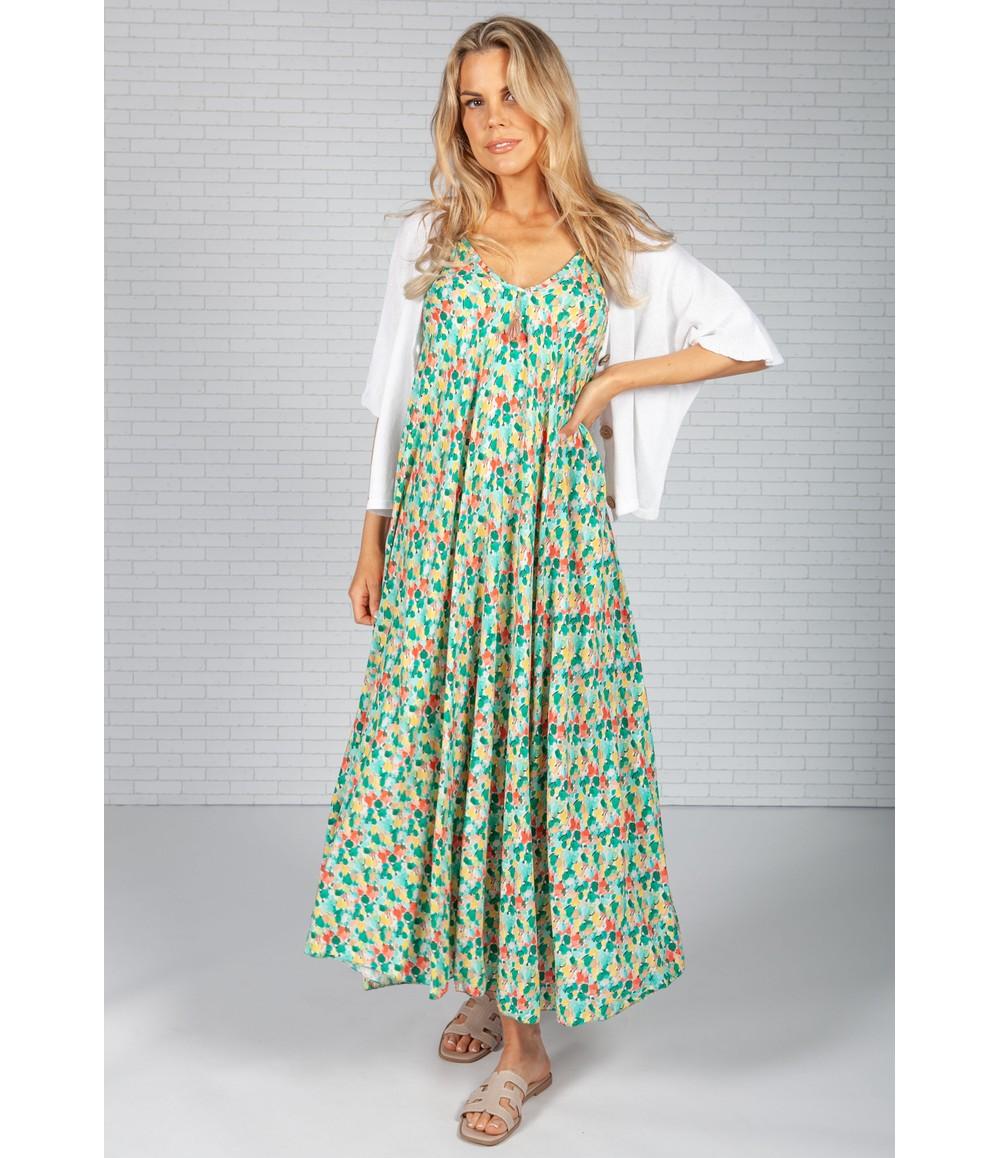 Pamela Scott Green Olive Print Maxi Dress