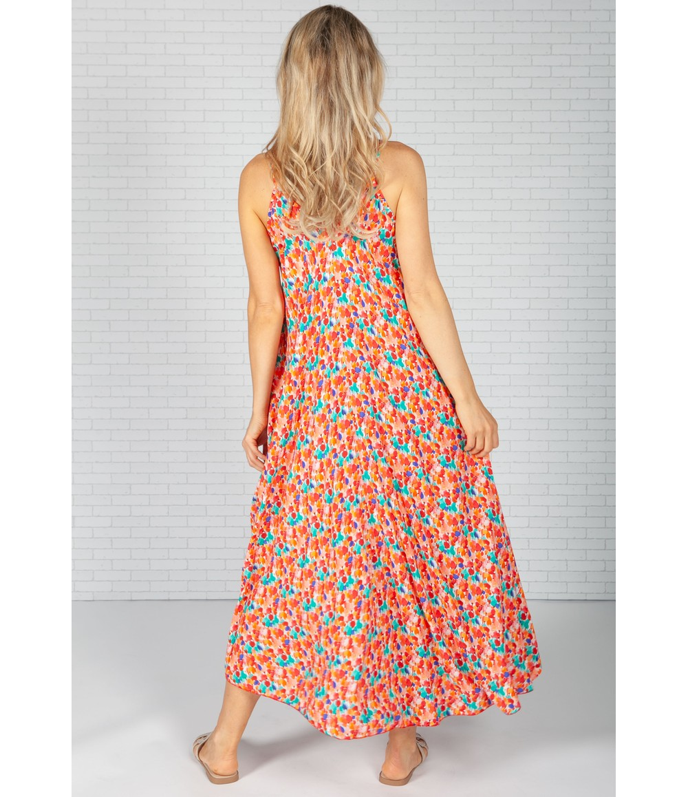 Pamela Scott Orange Olive Printed Dress