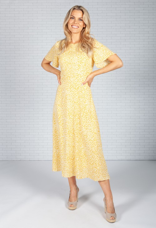 Pamela Scott Soft Yellow Animal Print Dress