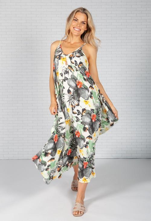 Pamela Scott Dark Palm Print Maxi Dress