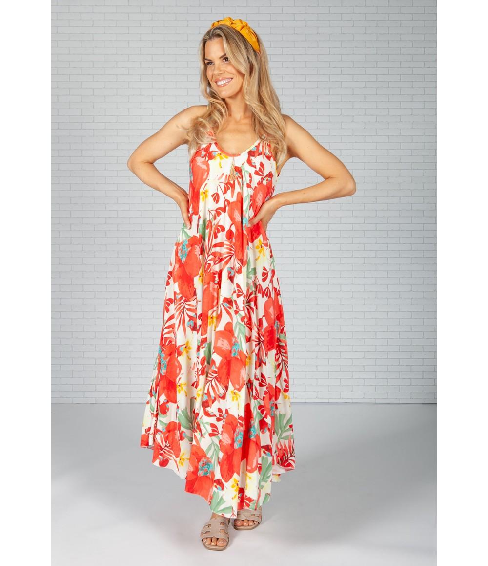 Pamela Scott Red Dark Palm Print Maxi Dress