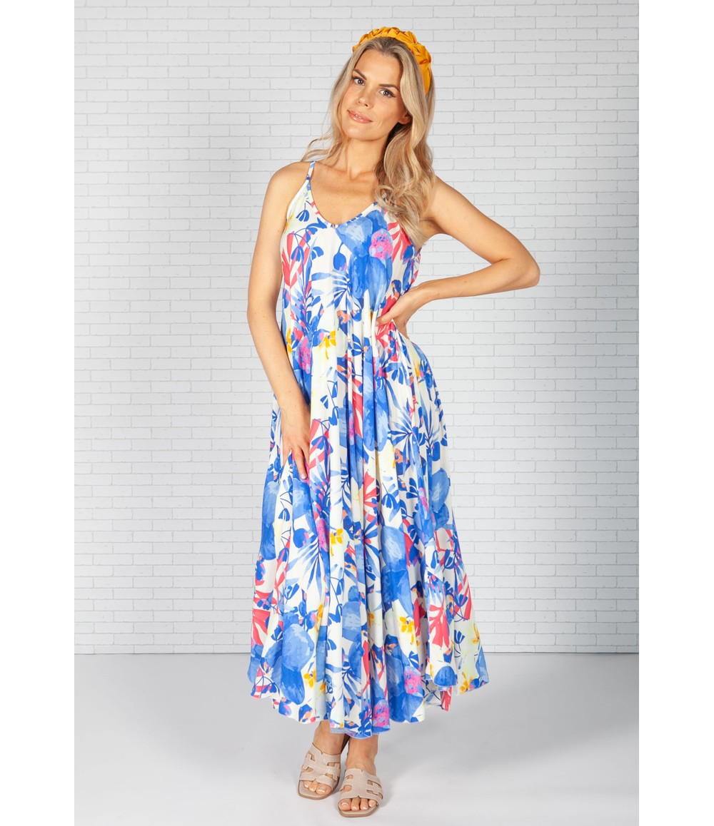 Pamela Scott Royal Blue Palm Print Maxi Dress