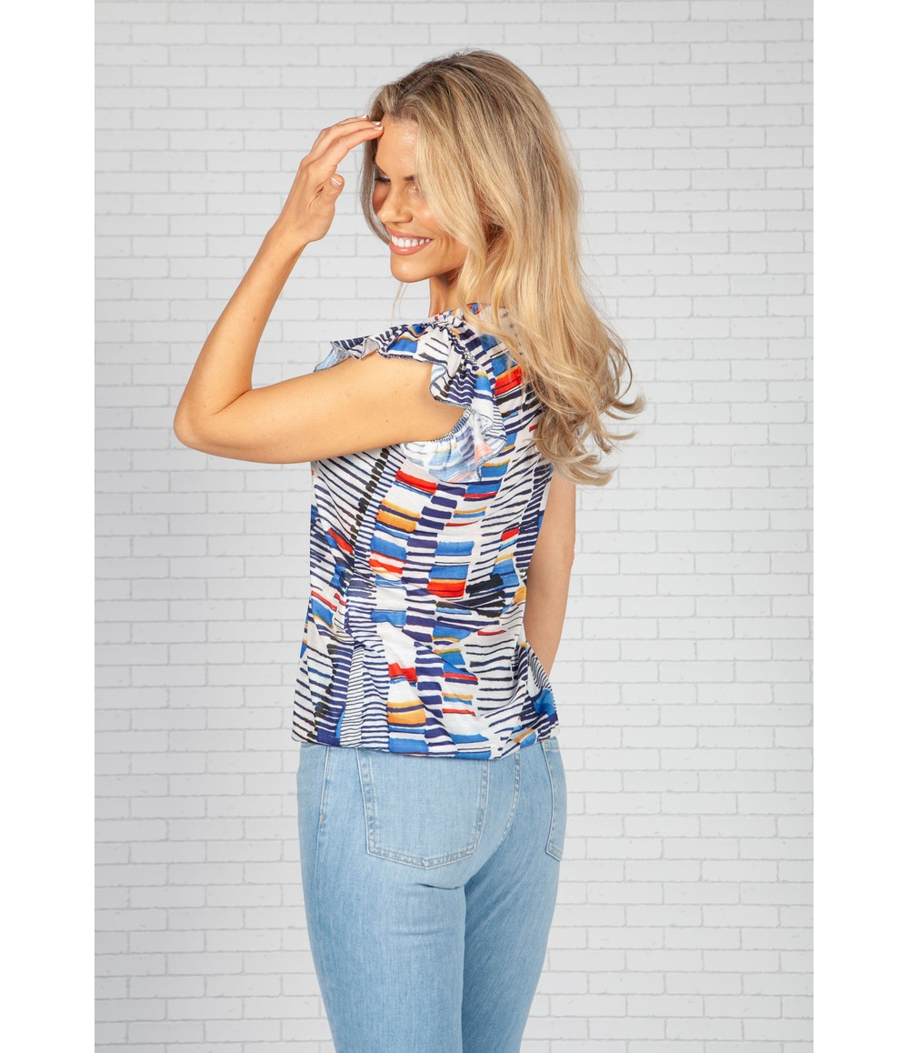 Sophie B Navy Blue Print Top with Ruffle Sleeve