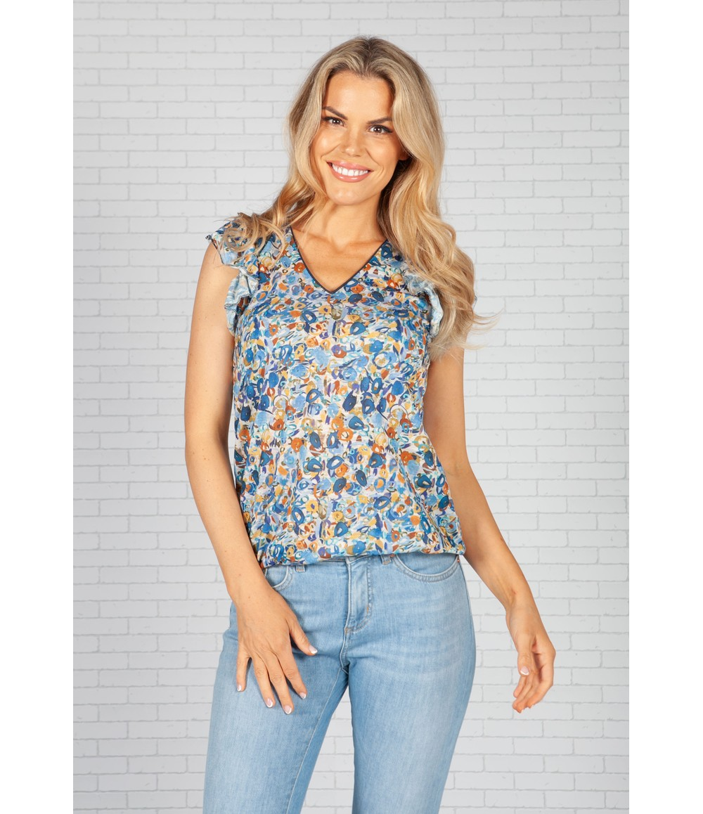 Sophie B Abstract Print Top with Ruffle Sleeve