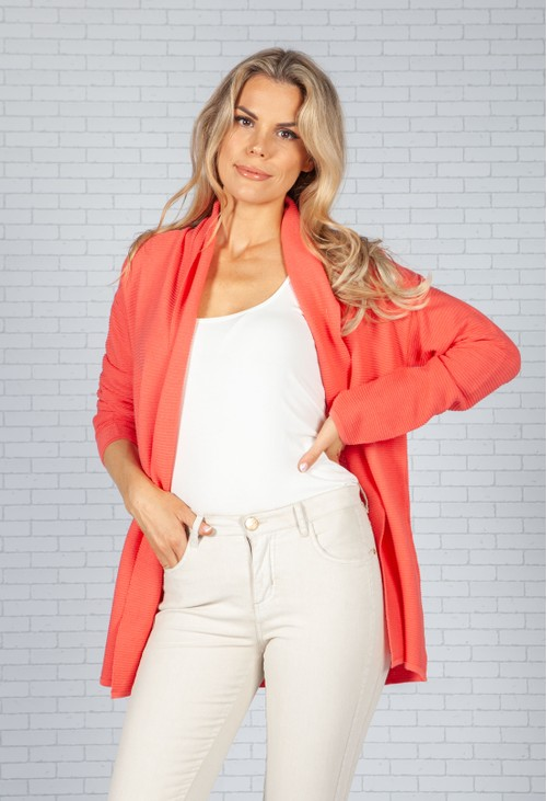 Sophie B Coral Ribbed Knit Cardigan