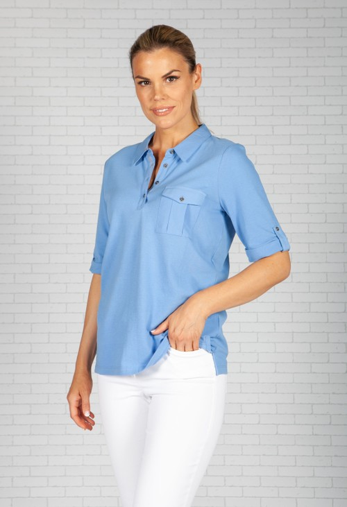 Olsen Sky Blue Polo Shirt