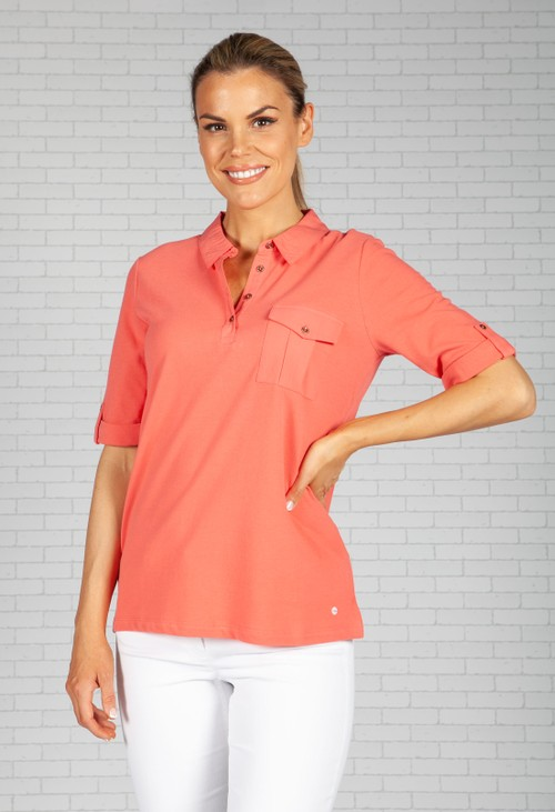 Olsen Salmon Polo Shirt