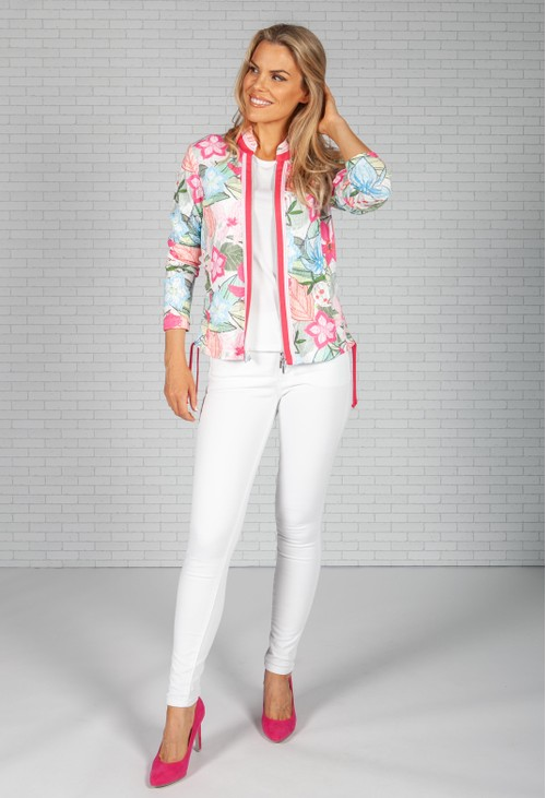 Just White Tropical Pink Waffle Jacket