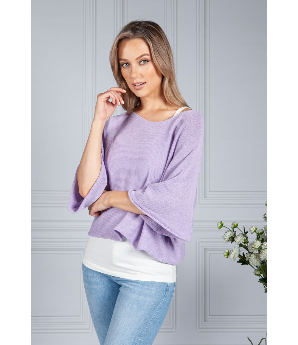 Sophie B Cotton Summer Pullover in Lilac