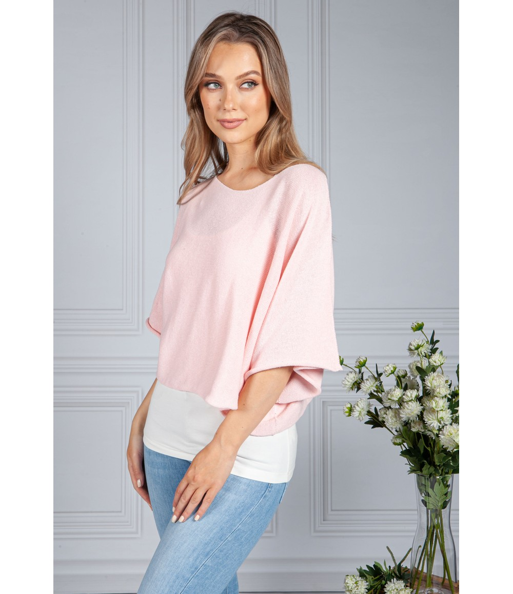 Sophie B Cotton Summer Pullover in Soft Rose