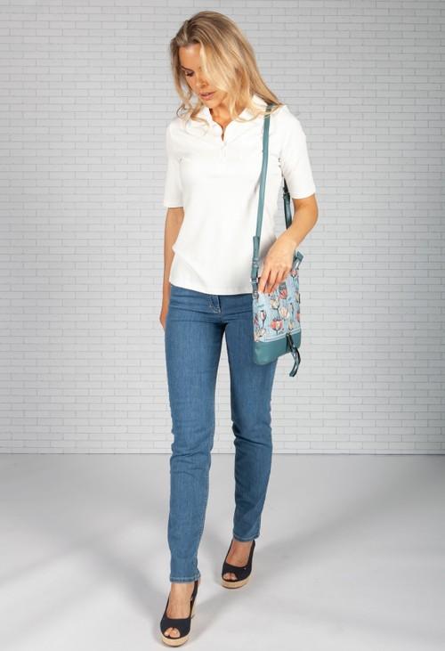 Pamela Scott Turquoise Poppy Print Crossbody Bag
