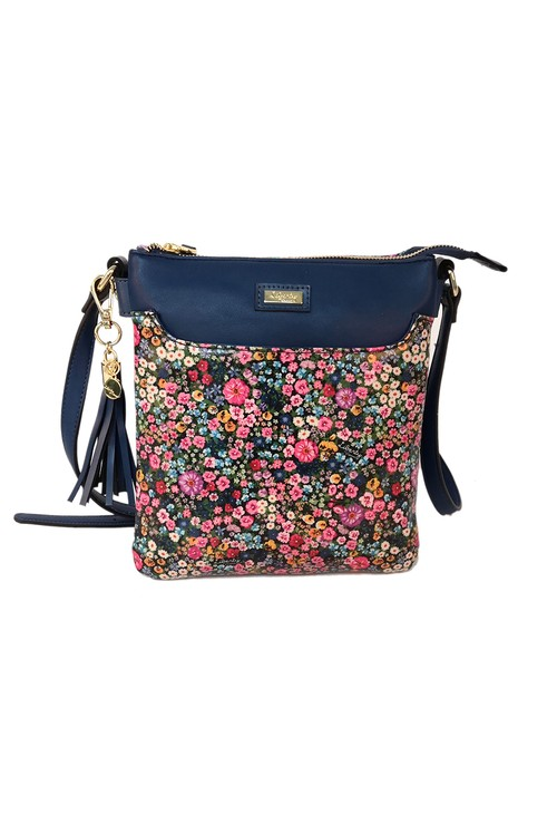 Pamela Scott Navy Mini Bloom Print Crossbody Bag