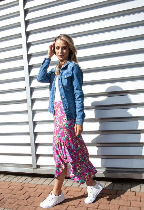 Zapara Forget Me Not Floral Print Skirt in Pink