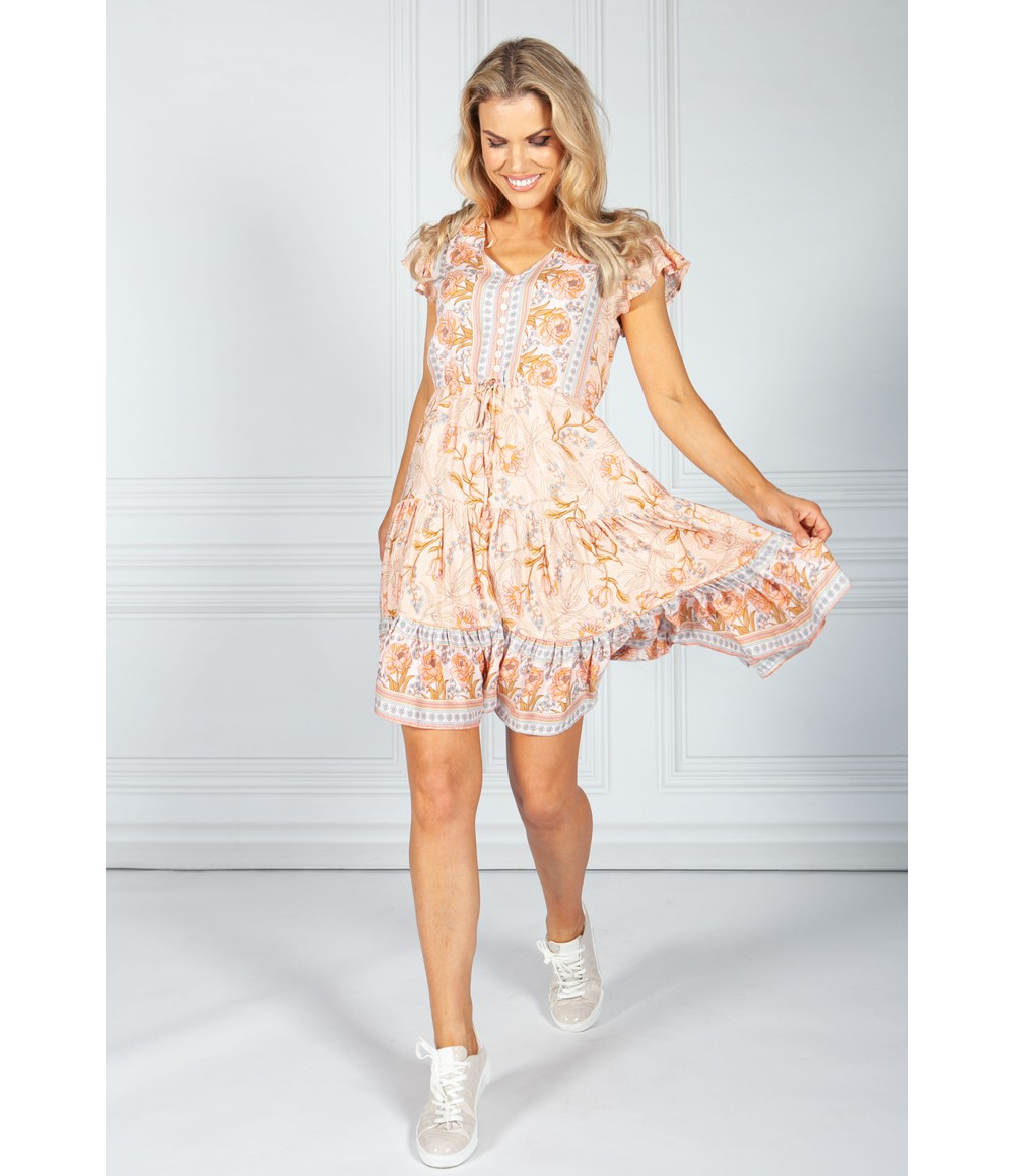 Pamela Scott Coral Rose Printed Dress