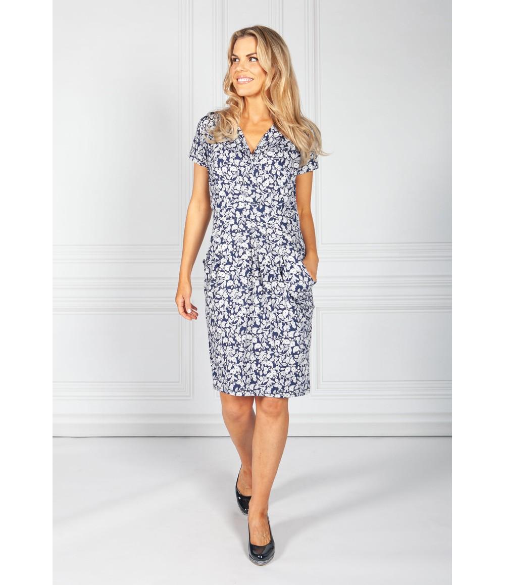 Zapara Navy Vintage Paisley Print Dress
