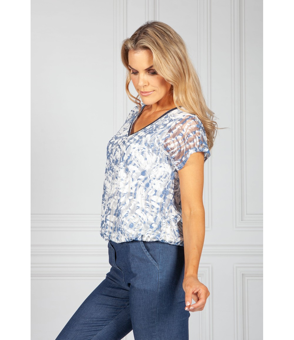 Sophie B White and Shimmer Blue Lace Top