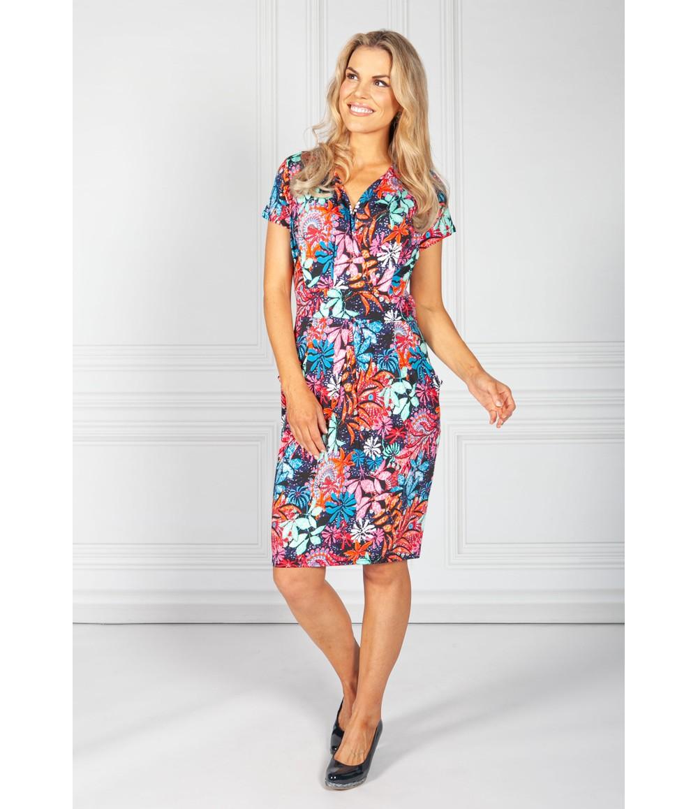 Zapara Tropical Palm Print Dress