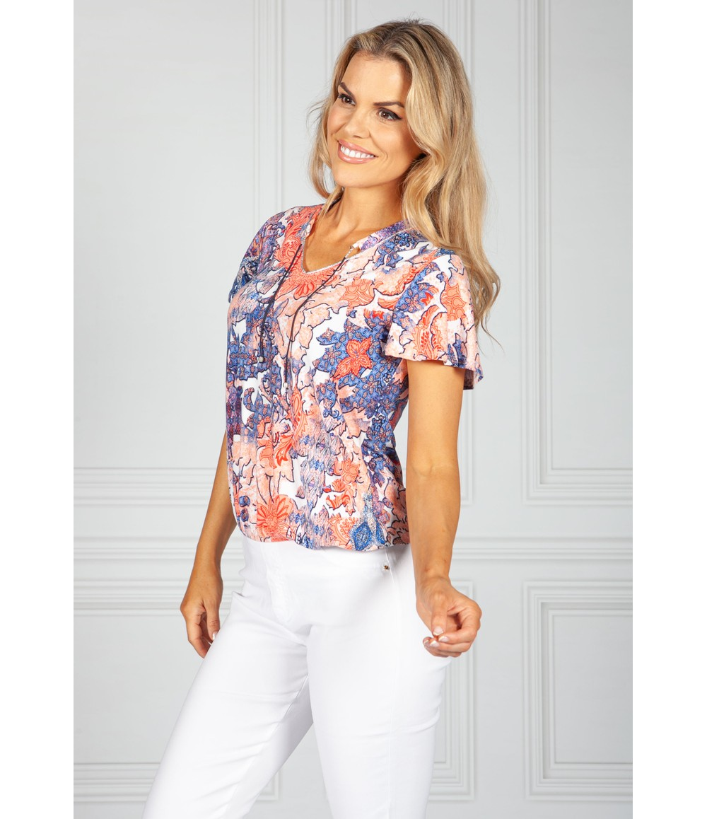 Sophie B Coral and Navy Paisley Print Top with Necklace Detail