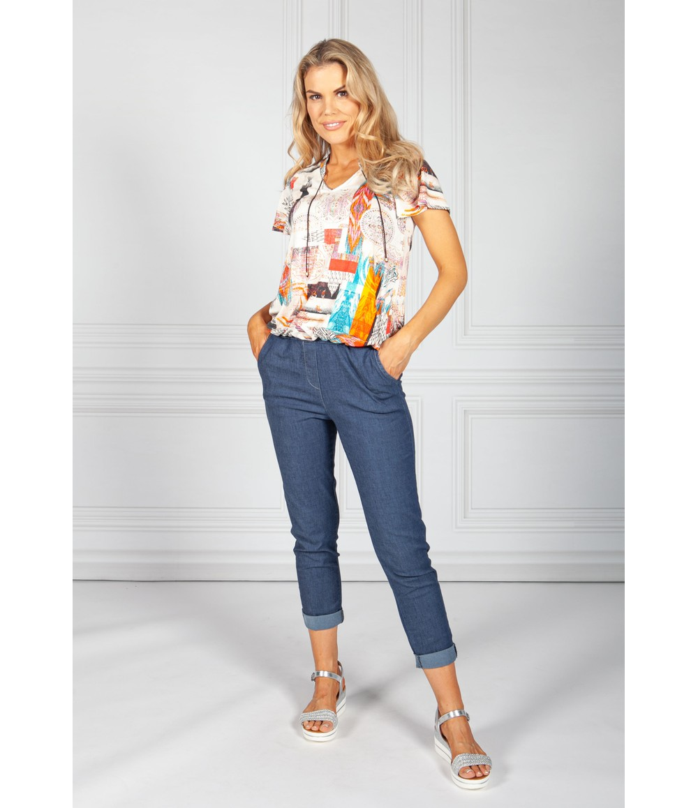 Sophie B Abstract Print Top with Necklace Detail