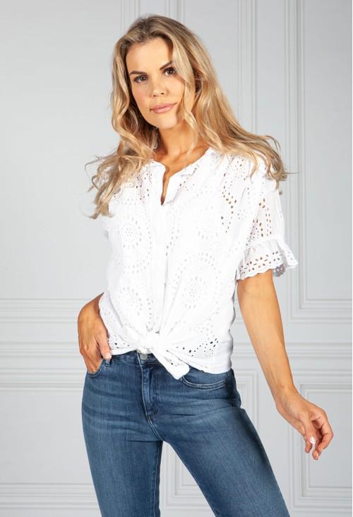 Pamela Scott Embroidered Tie Hem Blouse in White