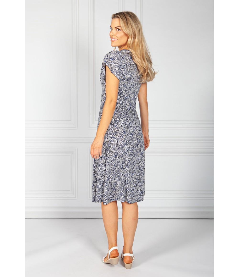 Sophie B Navy Mix Abstract Print Dress