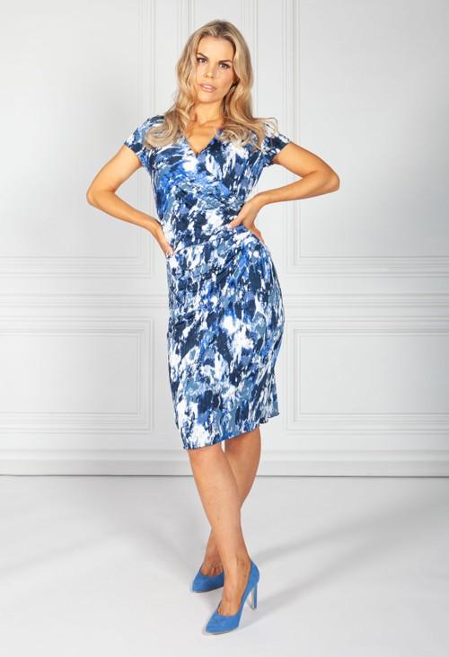 Zapara Dark Sea Blue V-Neck Dress