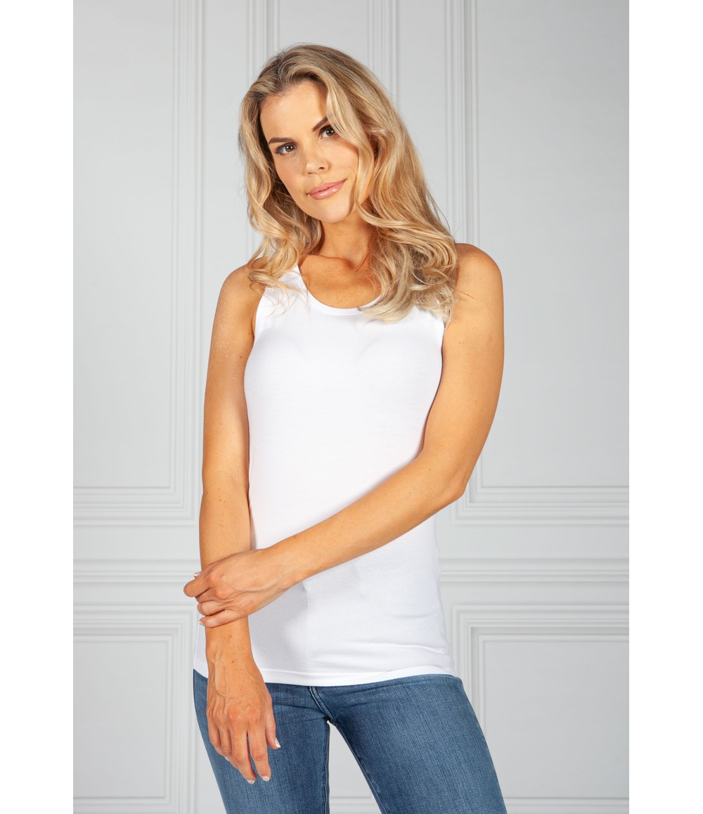 Pieces SOLID-COLOURED SLEEVELESS TOP in White