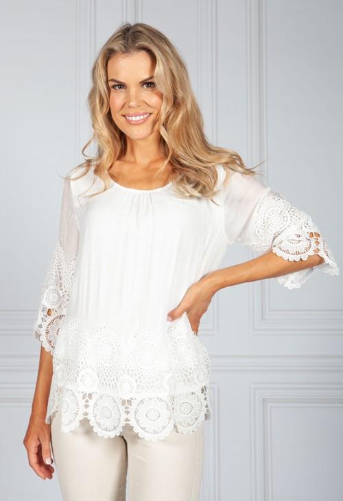 Pamela Scott Off-White Lace Trim Boho Top