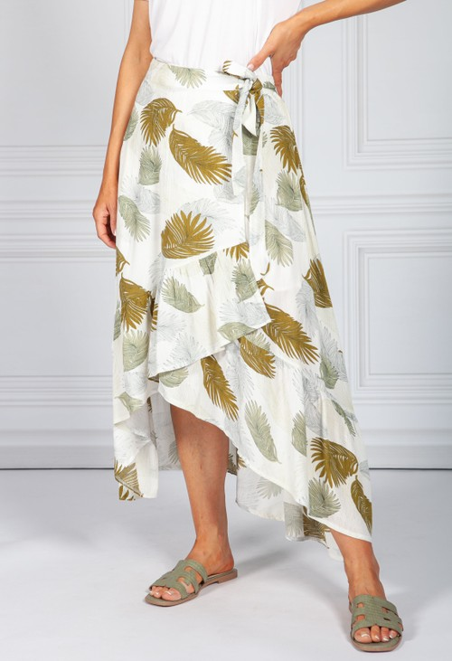 Pamela Scott Leaf Print Wrap Skirt