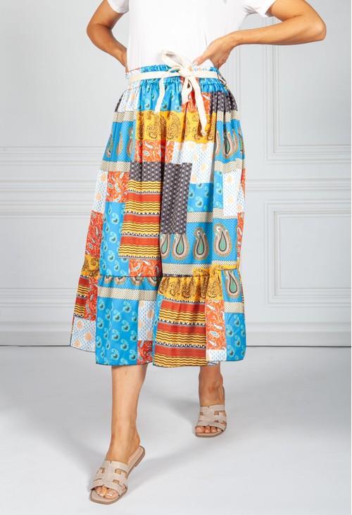 Pamela Scott Blue Mix Paisley Patch Print Skirt