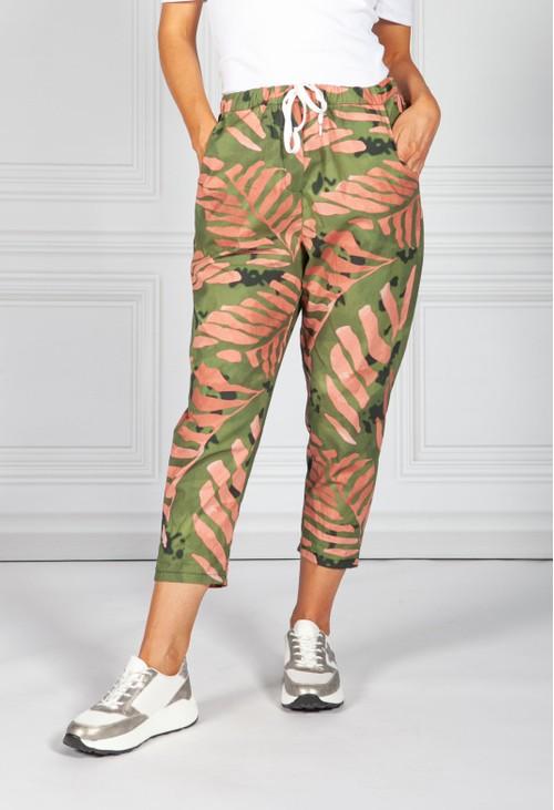 Pamela Scott Khaki Palm Print Joggers