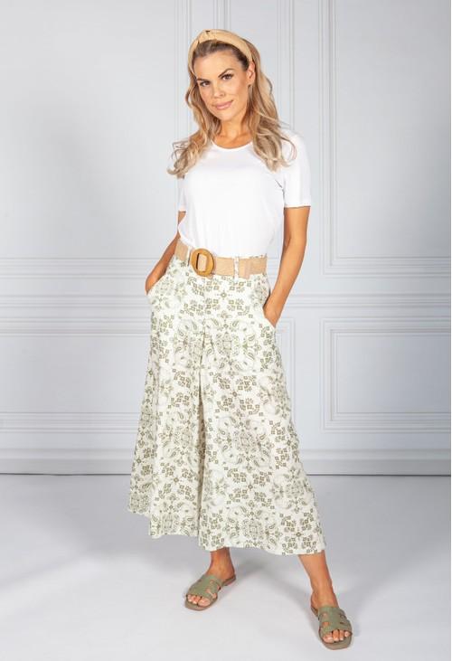 Pamela Scott Sage Paisley Print Trousers