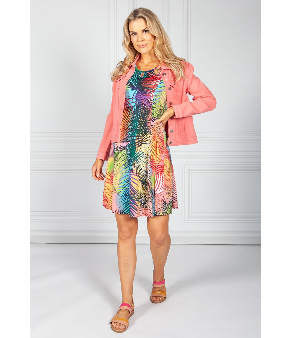 Zapara Coral Tropic Print Dress