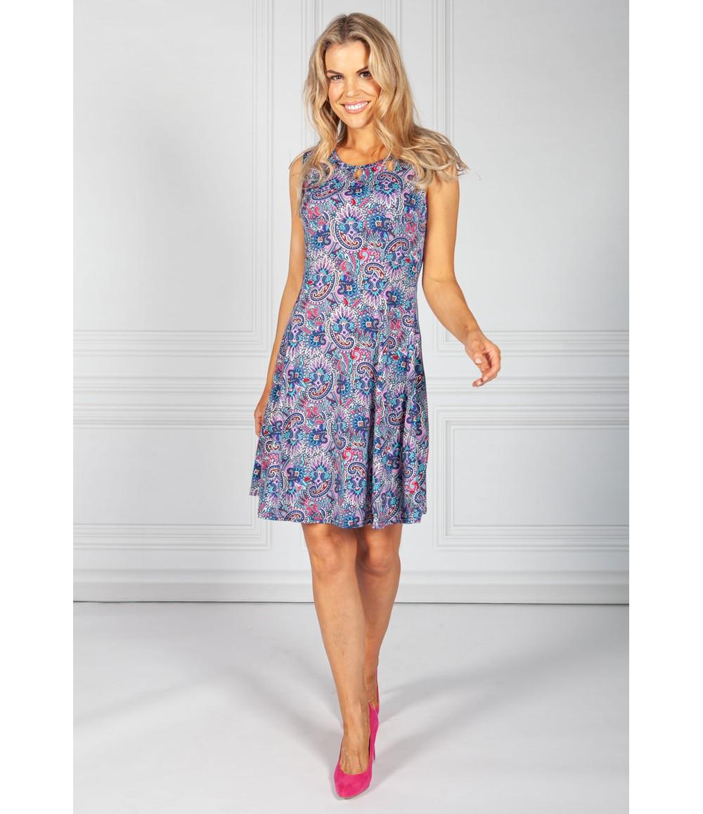 Zapara Blue Mix Paisley Print Dress