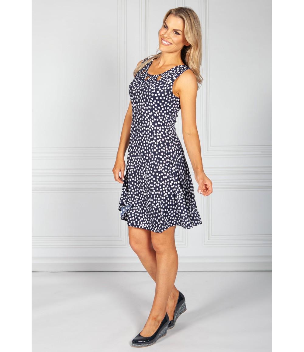Zapara Navy Polka Dot Print Dress