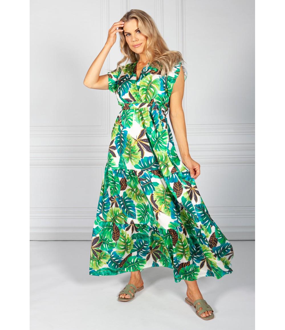 Pamela Scott Blue Tropic Palm Print Maxi Dress