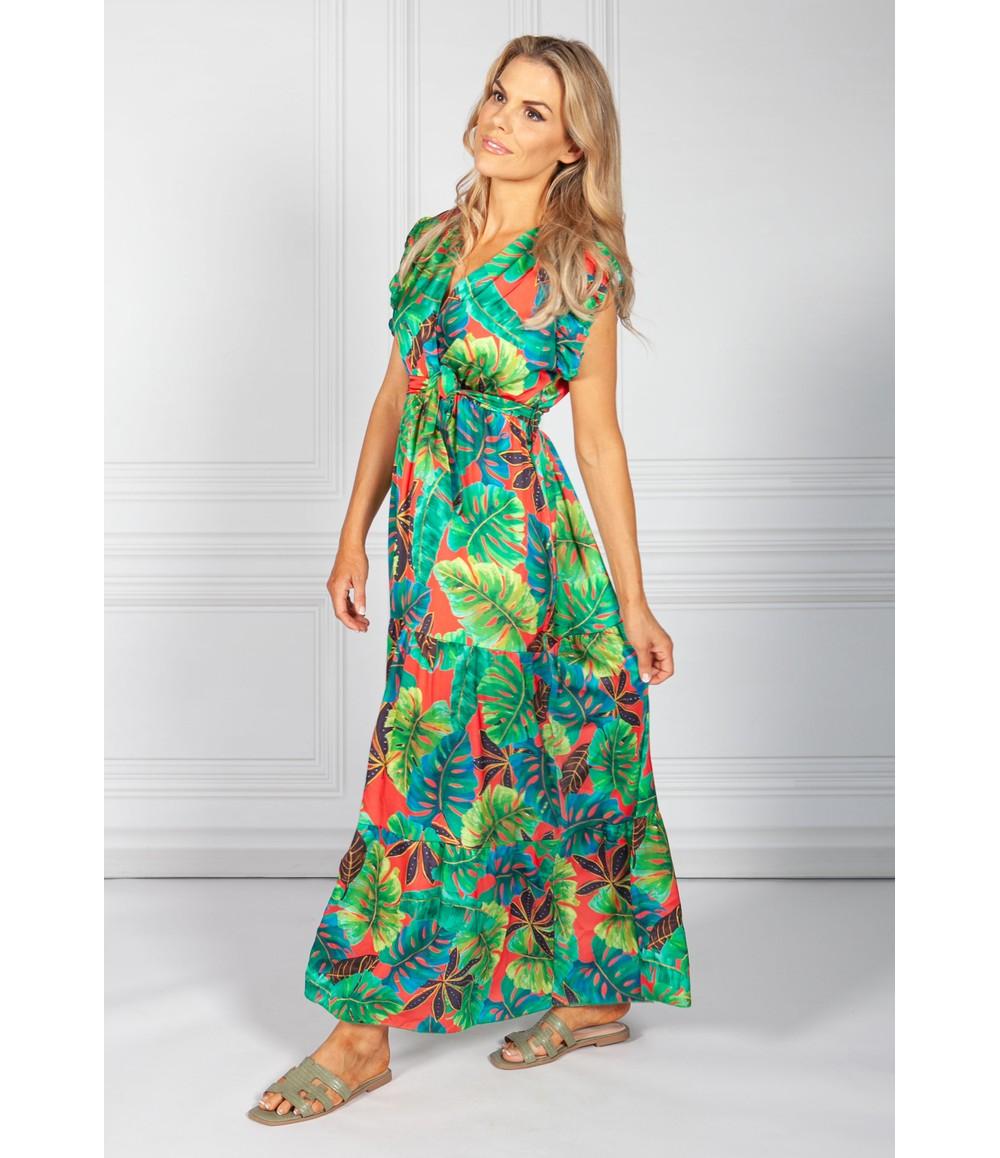 Pamela Scott Red Tropic Palm Print Maxi Dress