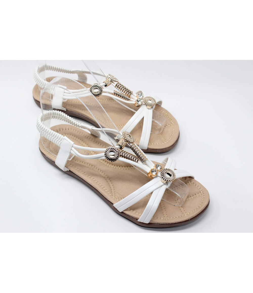 Shoe Lounge Gold Studded Sandal in White