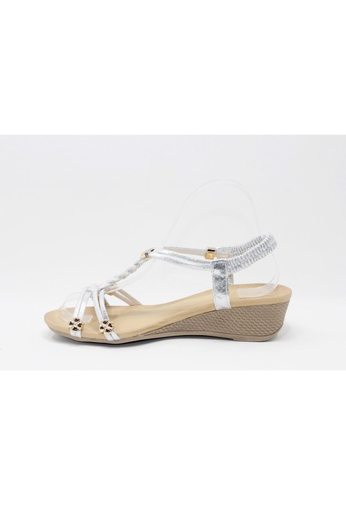 Shoe Lounge Floral Gem Wedge in Silver